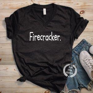 NEW Firecracker Black Vneck TShirt NWT Sz up to 2X